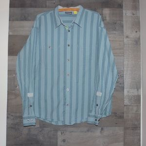 Cabela's Men's Blue Striped Button Down Shirt XL